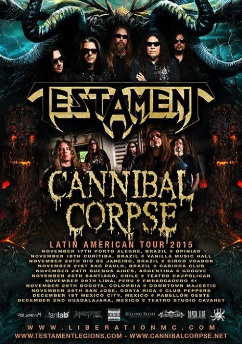 Testament y Cannibal Corpse en Colombia